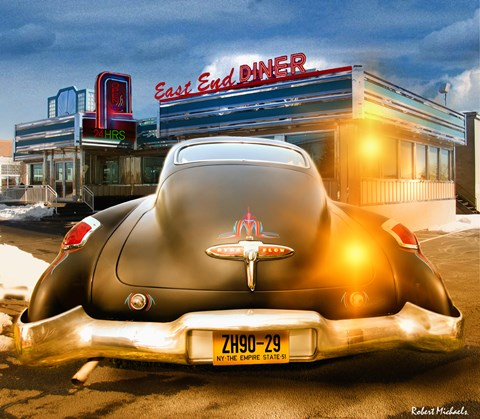 Framed 1950 Buick Dynaflow at the Diner Print