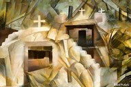 Abstract Cubistic Church  Fine Art Print