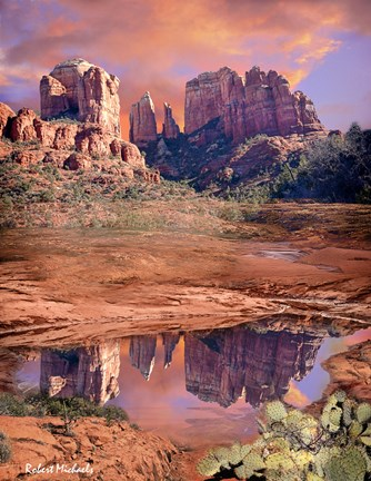 Framed Cathedral Rock Reflected - Sedona Print
