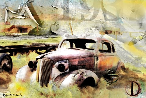 Framed Ghost Town Chevrolet Collage Print