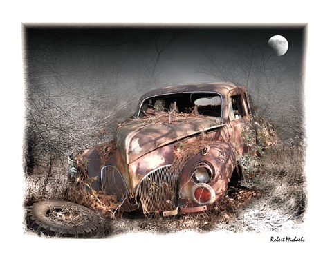 Framed Moonlight and Rust - 1940 Lincoln Zephyr Print