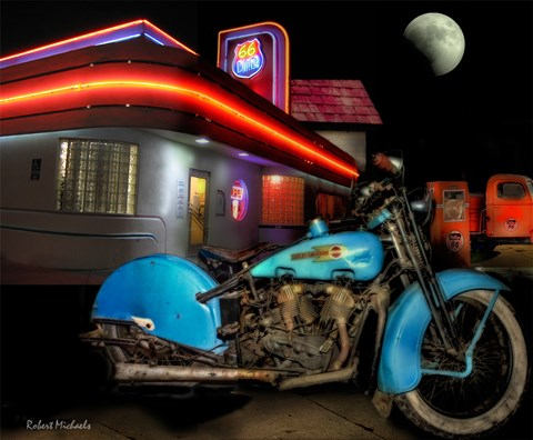 Framed Old Blue Harley on Route 66 Print