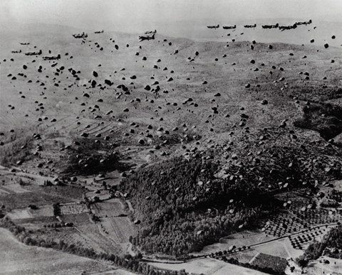 Framed Parachutes fly after Air Force Troop Carrier drops Allied soldiers and supplies during the Allied Invasion of France Print