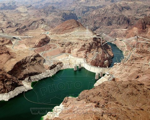 Framed Aerial view of the Hoover Dam- Arizona Print
