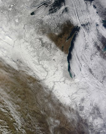 Framed Satellite View of Snow and Cold Across the Midwestern United States Print