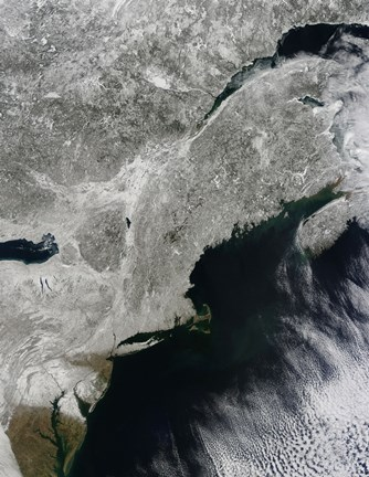 Framed Satellite View of Snow in the Northeastern United States Print
