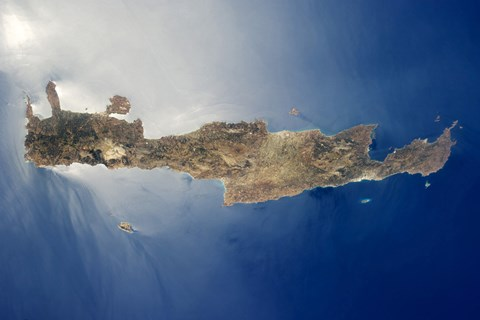 Framed View from space of the island of Crete Print