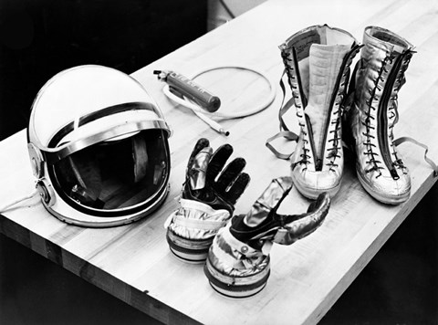 Framed Components of the Mercury Spacesuit Included Gloves, Boots and a Helmet Print