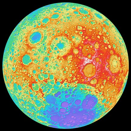 Framed Color Shaded Relief of the Lunar Farside Print