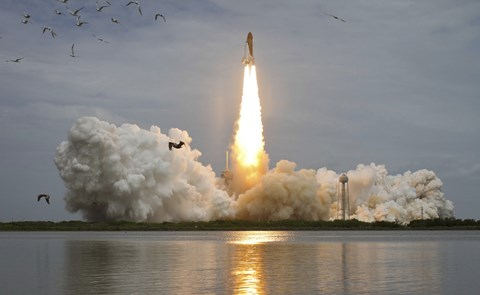 Framed Space shuttle Atlantis lifts off from the Kennedy Space Center, Florida Print
