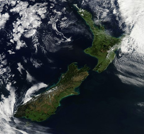 Framed Satellite view of New Zealand Print