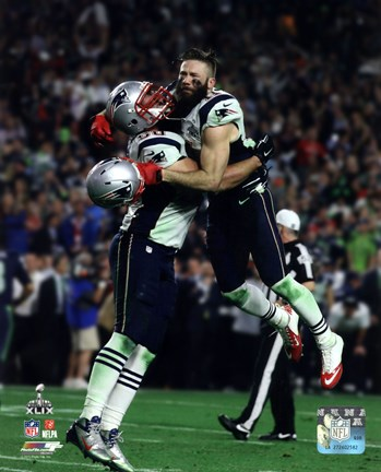 Framed Rob Ninkovich & Julian Edelman Super Bowl XLIX Action Print