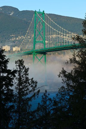 Framed British Columbia, Vancouver, Lion's Gate Bridge over Fog Print