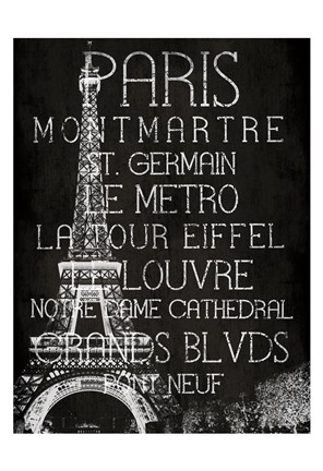 Framed Black & White Paris Print