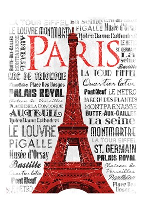 Framed Paris White & Red Print