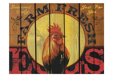 Framed Rooster Time Print