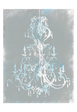 Framed Blue Grey Chandelier Print
