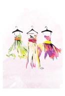 Watercolor Dresses III  Fine Art Print