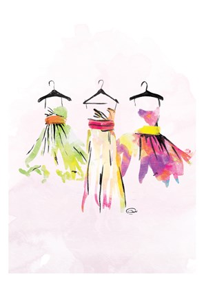 Framed Watercolor Dresses III Print