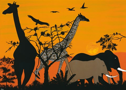 Framed Sunset in Tsavo East Print