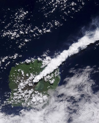 Framed Satellite view of a Thick, Steam-Rich Plume from Gaua Volcano Blows Directly Northeast Print
