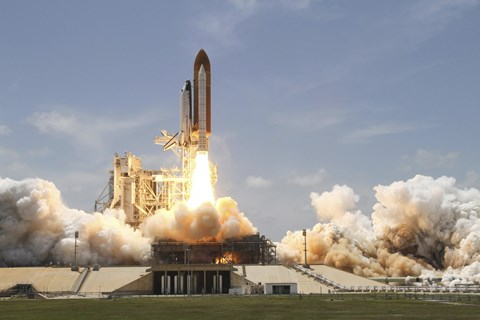 Framed Space Shuttle Atlantis Lifting off From Launch Pad 39A at the Kennedy Space Center in Florida Print