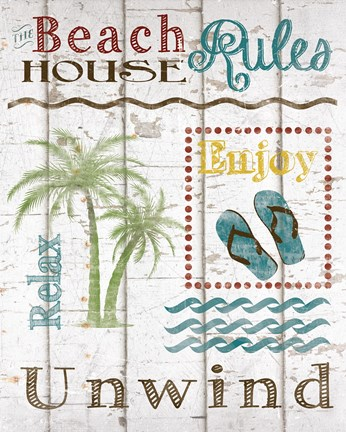 Framed Beach House Rules Print