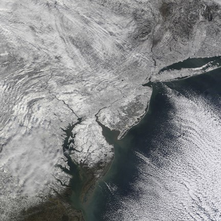 Framed Satellite view of a Nor'easter Snow Storm over the Mid-Atlantic and Northeastern United States Print