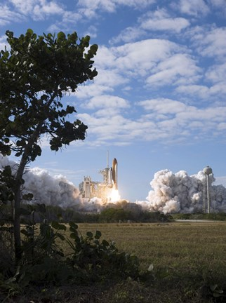Framed Space Shuttle Atlantis lifts off from its Launch Pad at Kennedy Space Center, Florida Print