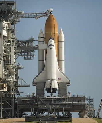 Framed Space Shuttle Discovery Sits Ready on the Launch Pad at Kennedy Space Center Print