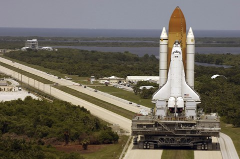 Framed Space Shuttle Discovery Resting on the Mobile Launcher Platform Print