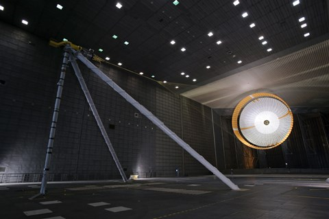 Framed Parachute Undergoes Flight-Qualification Testing inside a Wind Tunnel Print
