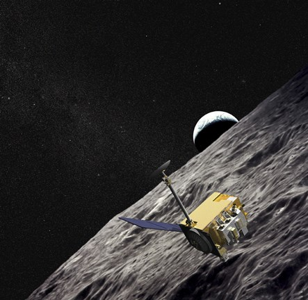 Framed Artist Concept of the Lunar Reconnaissance Orbiter Print