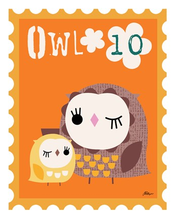 Framed Animal Stamps - Owl Print