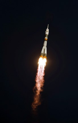 Framed Soyuz TMA-13 spacecraft in Flight after Takeoff Print