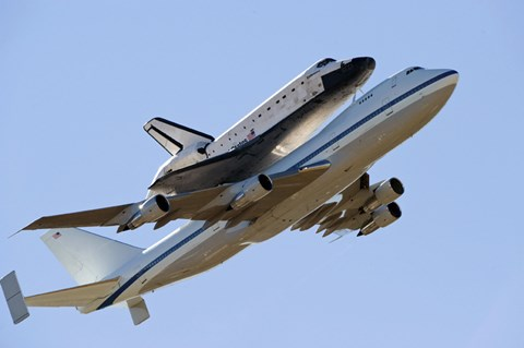 Framed Space Shuttle Endeavour Mounted on a  Modified Boeing 747 Shuttle Carrier Aircraft Print