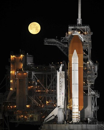 Framed Nearly full Moon Sets as Space Shuttle Discovery Sits Atop the Launch Pad Print