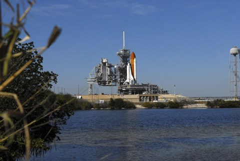 Framed Space Shuttle Discovery on the Launch Pad Print