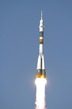Framed Soyuz TMA-12 Spacecraft Lifts Off into a Cloudless Sky Print