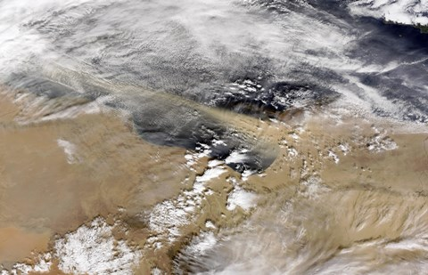Framed Dust Blows Off the Coast of Libya Heading Over the Mediterranean Sea Print