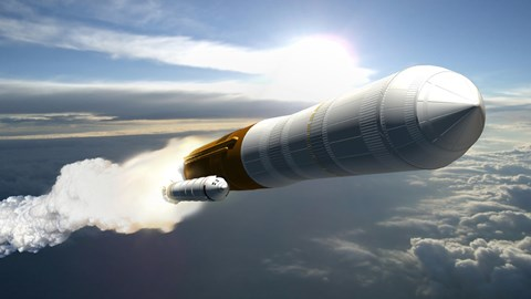 Framed Artist's Concept of a Cargo Launch Vehicle Blast Off Print