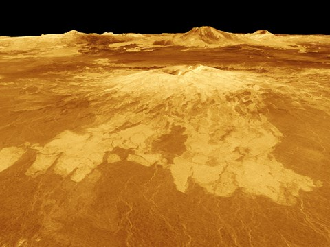 Framed 3D Perspective View of Sapas Mons on Venus Print