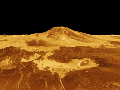Framed 3D Perspective View of Maat Mons on Venus Print
