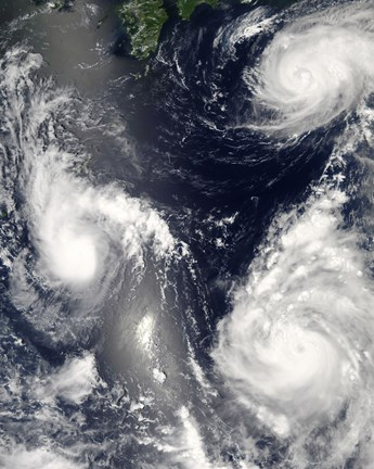 Framed Three different Typhoons Spinning over the Western Pacific Ocean Print