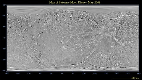 Framed Global Map of Saturn's Moon Dione Print