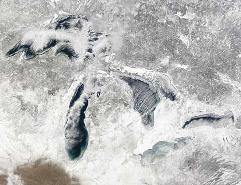 Framed Satellite view of the Great Lakes Print