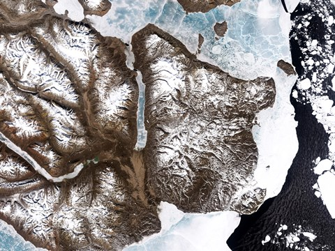 Framed Sea Ice lines the Shoreline in Eastern Greenland Print