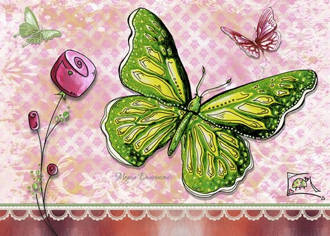 Framed Green Yellow Butterfly 1 Print