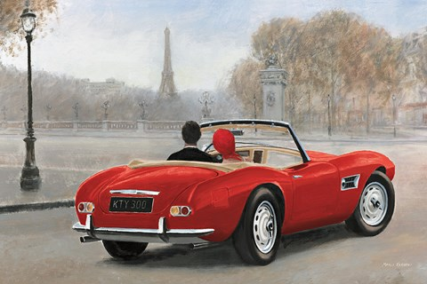 Framed Ride in Paris III Red Car Print