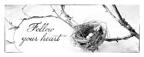 Framed Nest and Branch III Follow Your Heart Print